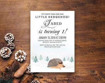 Woodland Hedgehog Baby Birthday Invitation Kids Birthday Winter Forest Animals Printable Invites Any Age Birthday Watercolor Invite Download