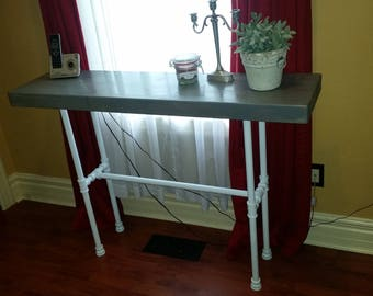 Industrial pipe console table