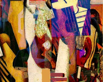 A Douradores Street - Free shipping! Abstract digital art - Paper, stretched canvas, Giclee Print