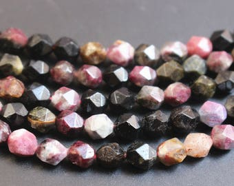Tourmaline Beads 6mm 8mm 10mm Facted Star Cut  Round Loose Stone Beads ,15 inch full strand.