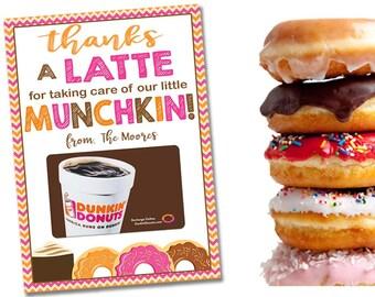 Teacher Appreciation Gift , Thanks A Latte PRINTABLE Teacher Gift Card Holder, Personalized Donut Coffee Ideas Coach Nurse Tags Last Minute