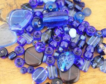 Mix assortment of blue glass beads