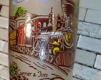 Currier and Ives vintage train tumbler