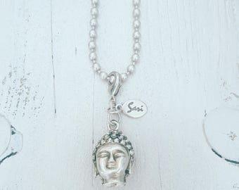 twentyonehappinezz • silverplated ballchain necklace with a silverplated buddha hanger.