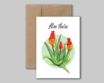 Aloe there, plant pun funny original watercolour illustration art print card. Blank greeting card, birthday card, thank you card.