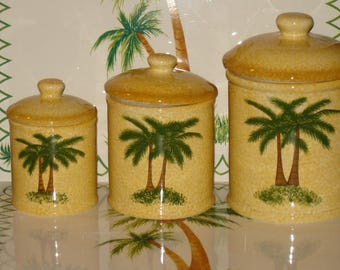Palm Tree Canister Set