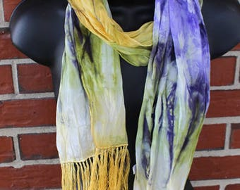 100% silk Scarf with Fringe - Iris - Painted - Handdyed