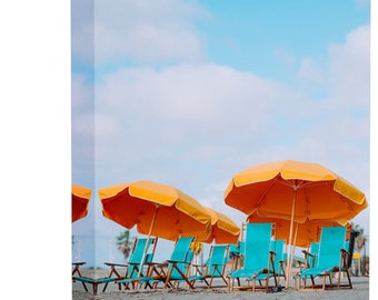 Tropical Beach Chairs Umbrellas Art Print Wall Decor Image - Canvas Stretched Framed