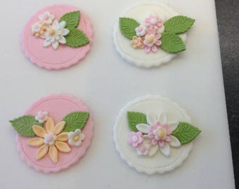 4 Edible Sugar Paste Fondant Flower & Leaf Cupcake  Cake Toppers