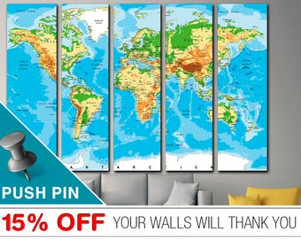 Push Pin World Map, World Map Push Pin, Word Map Canvas, World Map, World Map Wall Art, World Map Print,  PushPin World Map, Map Canvas