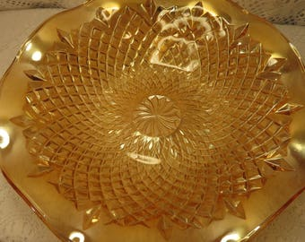 Marigold Carnival Glass Console Bowl, Vintage 1960s