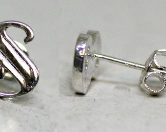 925 Sterling Silver Alphabet Letter S Initial Stud Earrings