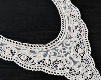 Adult cotton guipure lace neck ivory appliqué haberdashery