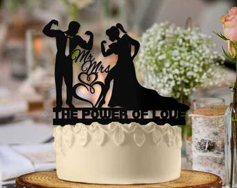 The Power of Love Strong Couple Wedding Cake Topper