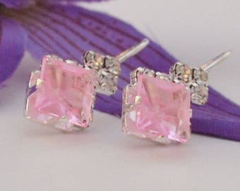 Pink Crystal Inlaid Silver Clip-on Dangle  Earrings