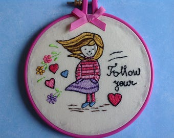 """Embroidered Hoop   """"The Girl"""" ."""