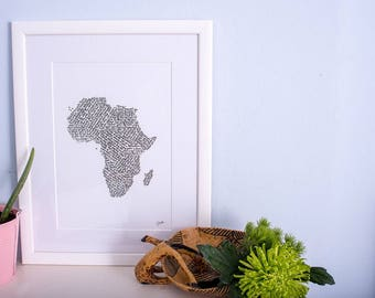 Travel and adventure - Africa calligraphy print