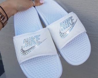 Bling Swarovski Nike Slides In Black Or White Women's Custom Bling Slides