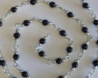 55cm of chain/black glass Pearl 4mm beads