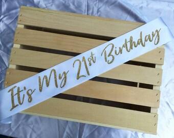 It's My 21st Birthday Sash, 21st Birthday Party, 21st Sash, Finally 21, 21st Birthday Sash, Twenty One Sash, Personalized Sash