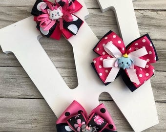 Cutie Pies - Elephant, Kitten and Mouse - Set of 3 Little Girl Hair Bows