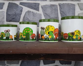 Vintage Plastic Canister Set kitchen Sugar Coffee Tea kitschy retro Merry Mushroom