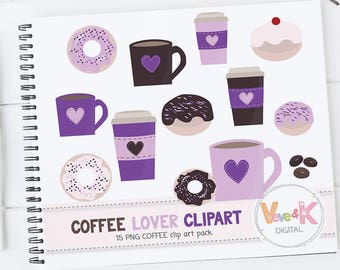 Donuts and Coffee Clipart Set, Coffee Clipart, Donuts Clipart, Coffee Lover, Food Clipart, Coffee, Mugs, Cupst, Cup of Coffee Commercial Use