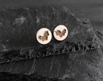 Tiny chibi unicorn stud earrings in wood and sterling silver - bridesmaid gifts under 15 - cute friendship gift - unicorn horse lover gift -