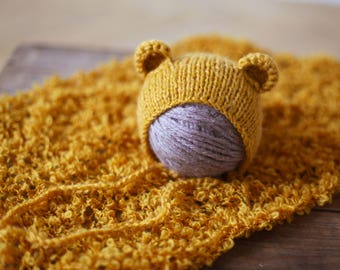 Newborn hat, Knitted hat, Baby girl, baby boy bear hat  Newborn blanket