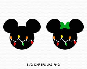 Mickey Minnie Ears christmas lights svg, Minnie Bow Disney christmas, svg dxf for Silhouette Cricut,  Svg Dxf Png files designs