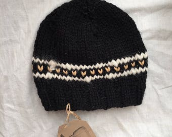 Peach and Natural Detail Baby/Toddler Hat