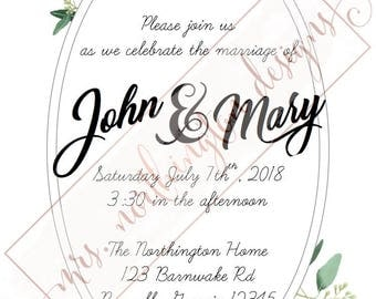 White Flowers Invitation