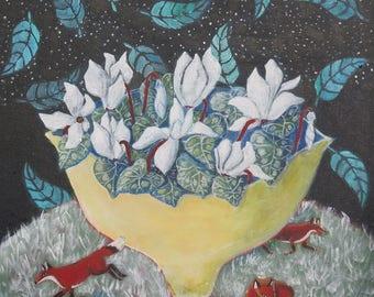 "Susanne Mason original painting, ""Night Visitors"" - acrylics on canvas 40x40cm"