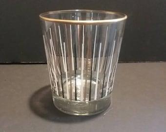 Vintage 1953 Libby Sunburst English Highball Glasses,Black,Gold,White..Mid-Century Modern. Set of Six
