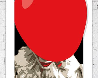 Pennywise the Dancing Clown • IT / Stephen King • 2017 • 80s • Vector Art print picture A4 A3 horror unique film movie poster not framed