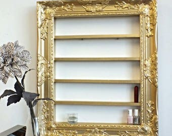 Sunna Luxe Organizing Display, nail polish rack, gold wall decor, shelving display, makeup organizer, beauty room