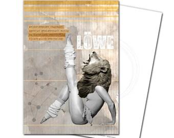 Postcard Zodiac lion greeting card greeting card birthday
