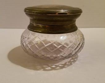 Glass Vanity Jar with Metal Lid - Vintage - Trinket Box