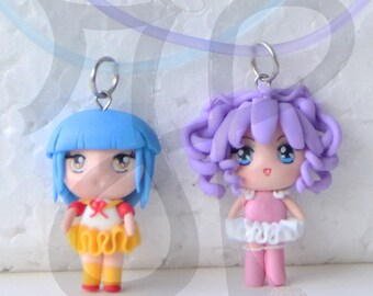 Necklace with Japanese-style Doll (mini chibi): CREAMY and YU