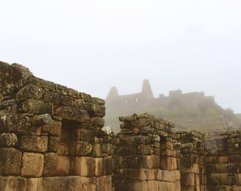 Travel Photography, Machu Picchu Photo, Digital Download, Rainy Machu Picchu, Printable Wall Art, Home Decor, Peru, travel print, travel art