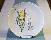 Vegetable Art Punny Dinner Plates - Hand Painted Ceramics - Foodie, Housewarming Gift - Choose one: Beet, Carrot, Corn, Lettuce, Gourd, Peas