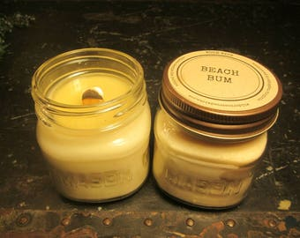 BEACH BUM // Soy Candle // Wood Wick // Mason Jar // Summer // Beach Scent // Fun Scent
