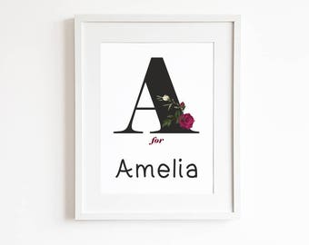 Personalized name printable, monogram nursery print, unique baby gift, personalised initial, nursery wall print, nursery name printable art