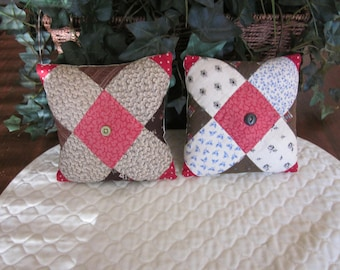 Pair Of Antique Quilted Pillows With Buttons