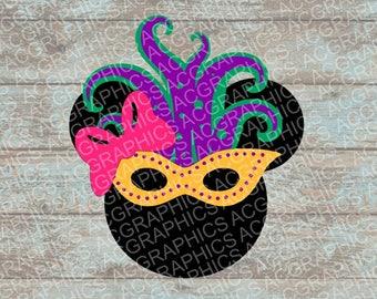 Mardi Gras Minnie Mouse SVG, DXF, JPEG, and Studio Downloads