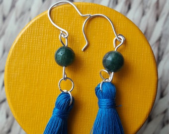 Blue tassel earrings with green Agate bead. Dangle drop earrings. Tassel fashion. Silver plated copper. Perfect stocking filler.
