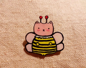 Bumble cat, Bee cat, kawaii bee cat, cute cat, cat bee, queen bee cat, purrbee pin, gardening gifts, gift for gardener, beekeeper pin