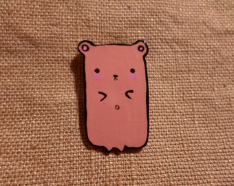 Bear Pin, Painted Bear Pin, Kawaii Bear, Minimalist Bear, Cute bear pin, Bear Brooch, Adorable bear, bear jewelry women, Bear gifts for her