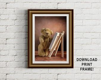 Teddy Bear painting, artist photograph, Teddy bear photograph, Plush bear, wall art, printable art, decor,Teddy Bear print, printable