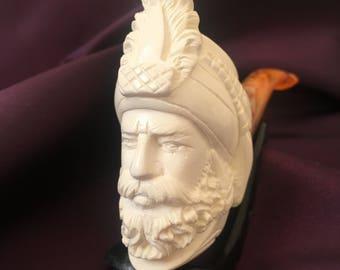 Meerschaum Hand Carved Block Pipe Sultans Set